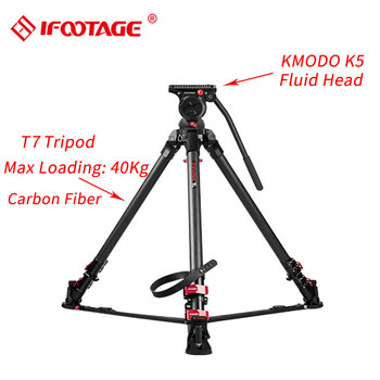 IFOOTAGE Wild Bull T7 Carbon Fiber Professional Video Camera Tripod Stand with K5 Fluid Head for GH5 5D A7S DSLR Camera