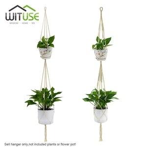 Image 3 - Barato! 2Pcs Plantas Decorativas Macrame Planta de Vaso Cesta Varanda Cabide gancho Da Parede para pendurar Corda Gancho Da Planta Pot Holder