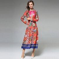 2018 summer long sleeve dress women high quality runway bow Flower Floral print korean fashion casual long dress