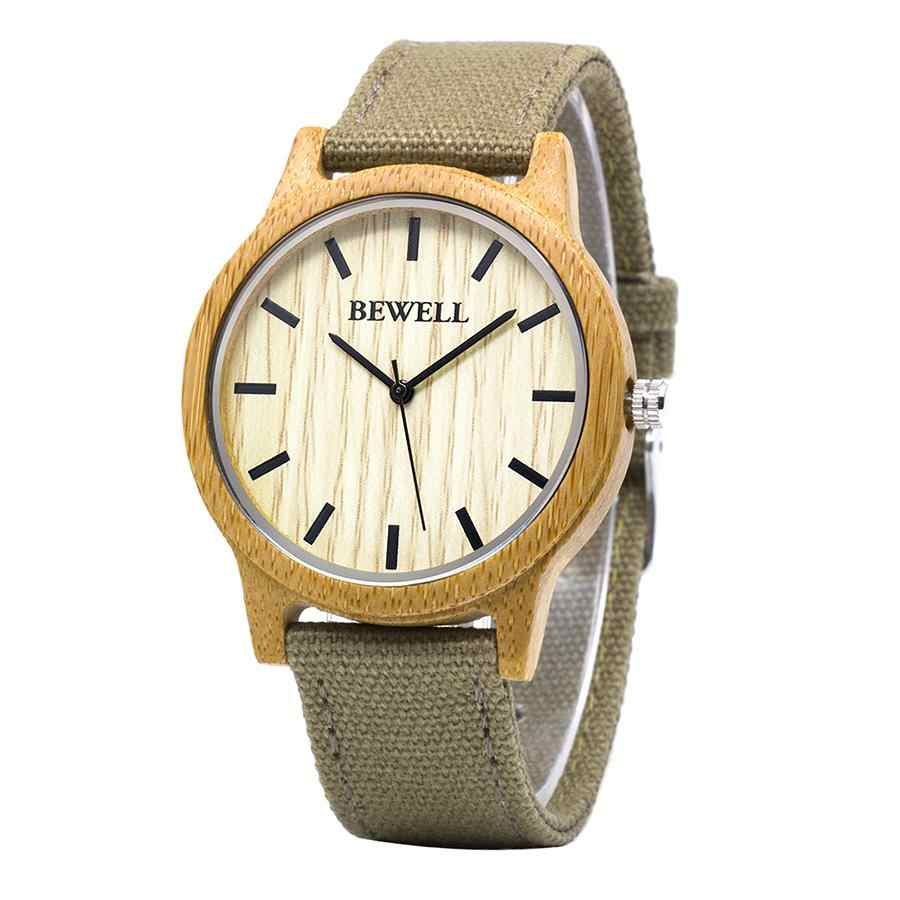 Men and Women Canvas Strap Watch BEWELL Luxury Brand Waterproof Clock Male Gift For Father Son Boyfriend Wooden Watches 134A