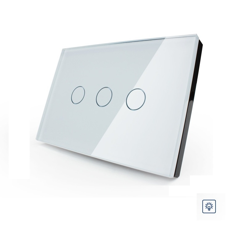 Livolo Smart home Ivory Crystal Glass Panel US/AU standard OS-003D-81,Digital Wall Switch, Dimmer Control Home Wall Light Switch