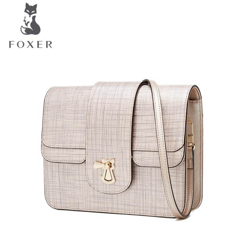 FOXER luxury fashion 2018 new wave Korean version of the wild diagonal leather handbags fashion shoulder bag summer new women leather handbags shell bag shoulder bags first layer of cowhide korean version of the wild fashion handbags