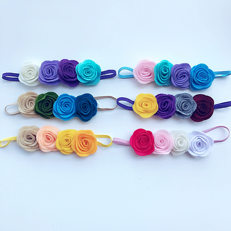 Retail Flower Headband four non-woven fabrics felt rose Flower with thin elastic hairbands Rainbow Headwear hair accessories bebe girls flower headband four felt rose flowers head band elastic hairbands rainbow headwear hair accessories