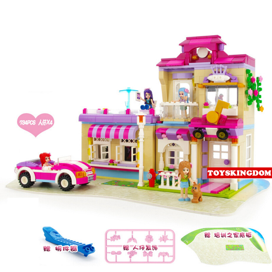 Hot my girls friends clubs Star training home building block doris cherry emily abby figures cars bricks toys for kids gifts