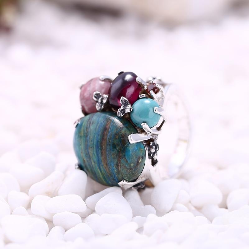 Sterling 925 argent une variété de pierre naturelle quatre griffes incrusté bijoux anneau chanceux bijoux pour les femmes