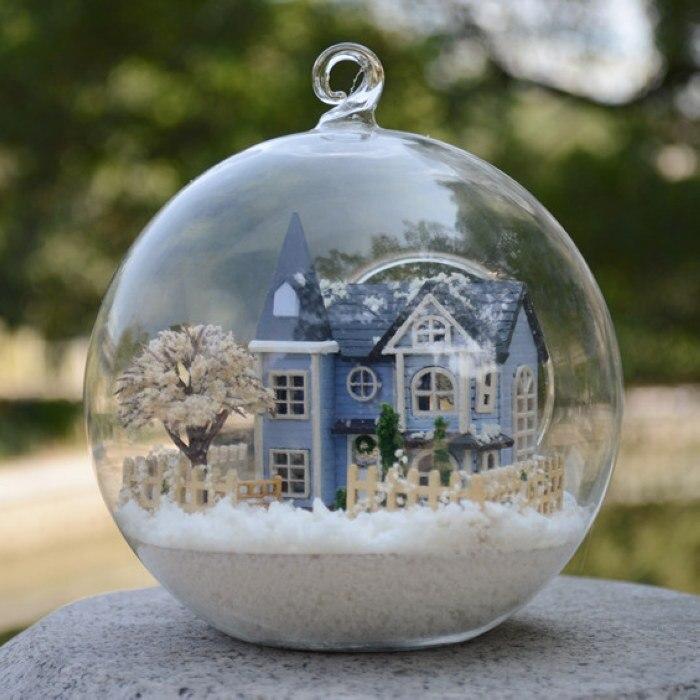 New Christmas gift hand made DIY wood doll house miniature toys Assembling Model Glass Ball dollhouse