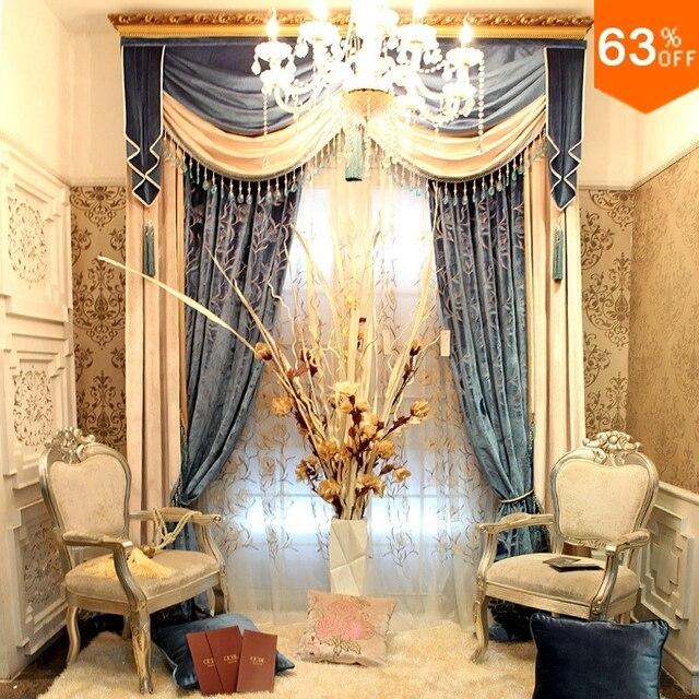 gouden en zilveren luxe haak hangen stijl woonkamer gordijnen voor restaurant hal valancer blackout kleur goud
