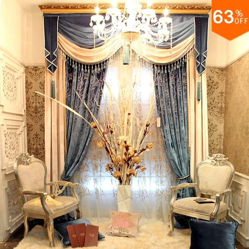 Ouro e Prata estilo luxuoso Gancho Pendurar cortinas Da Sala para o Salão de Restaurante Valancer Cortina Blackout cor palácio de ouro