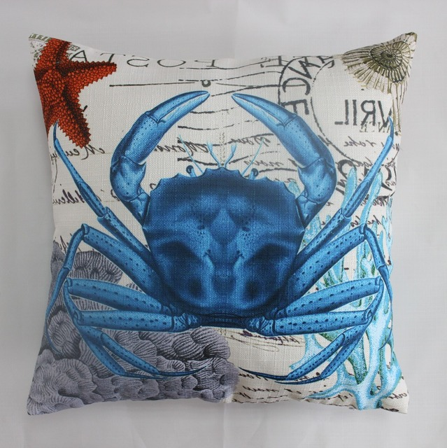 VEZO HOME Printed Blue Crab Sofa Cushions Coral Red Starfish Throw Pillows  Seat Chair Home Decorative