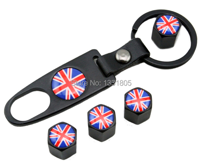 YAQUICKA 1 set England Flag Emblem Decal Car Wheel Tyre Tire Valve caps with Wrench Car Accessory For Jaguar XE XF XK XJ LR2 etc