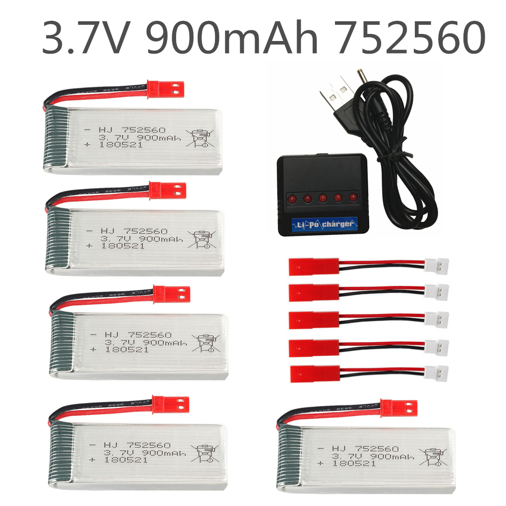 900mah 3.7V lipo Battery For 8807 8807W A6 A6W Rc Quadcopter Spare Parts li-po battery 900mah <font><b>752560</b></font> and 5in1 charger set image