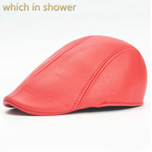 Que en la ducha en blanco pu boina hombres francés estilo falso cuero gorra  plana mujeres primavera invierno retro newsboy sombr. 752d8812759