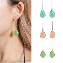 Gold Color Earrings Green Blue Water Drop CZ Stone Pierced Dangle Earrings Women/Girls Long Drop Earrings fashion jewelry Simple(China)