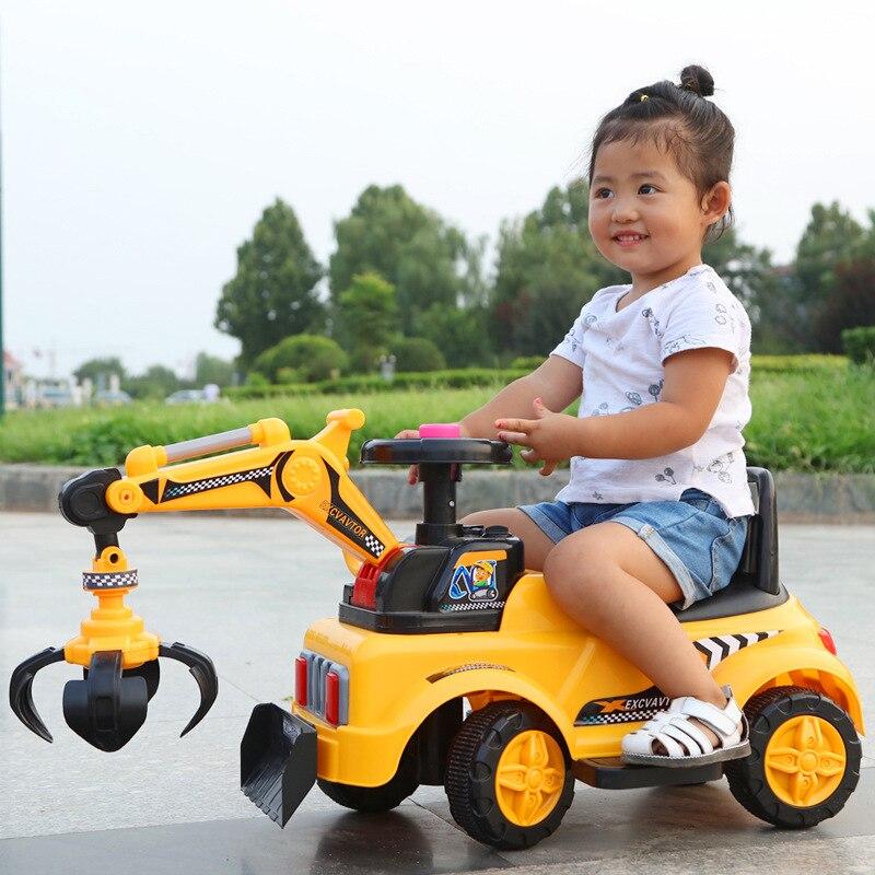 2 в 1 Электрический детский автомобиль игрушки для катания экскаватор музыка свет четыре колеса строительная машина игрушки для катания авт...