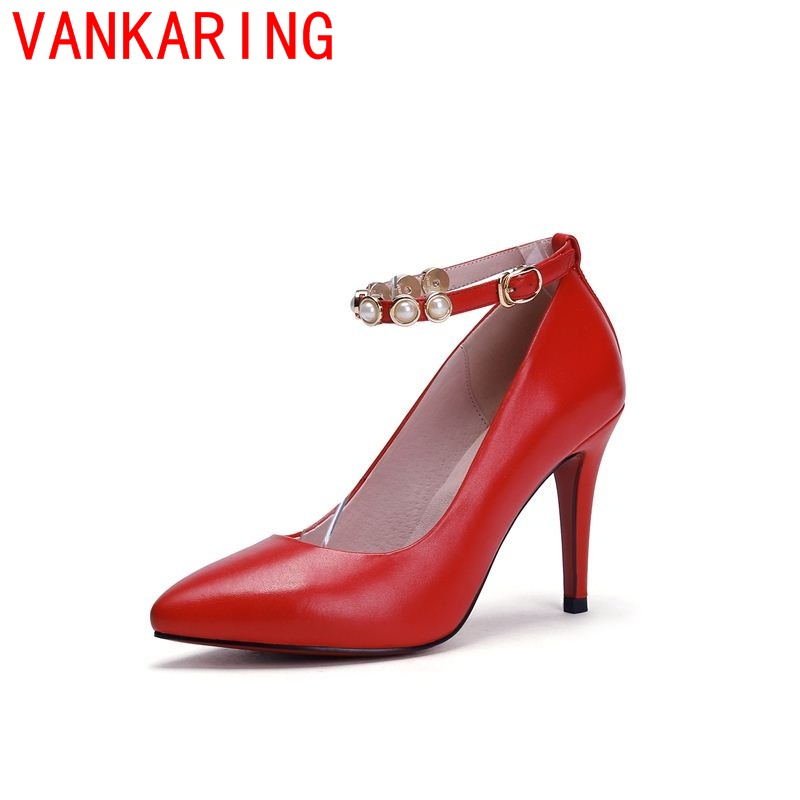 ФОТО VANKARING shoes 2016 spring autumn thin high heels pointed toe pumps high quality genuine leather slip-on metal buckles office