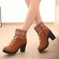 2016 New Autumn Winter Boots Women Fashion Lace Patchwork Thick Warmer Short Boots Trendy Martin Boots