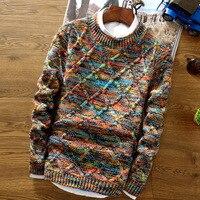 Свитер с круглым вырезом для мужчин 2018 модный свитер, пуловер для мужчин, облегающий вязаный свитер для мужчин, цветное Сетчатое платье ромб...