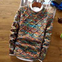 Chandail à col rond hommes 2018 mode pull pull mâle coupe mince chandails à tricoter hommes coloré losange treillis pull hommes