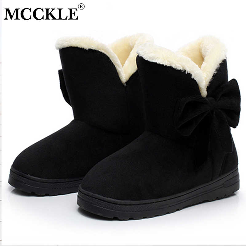 4761fc46a ... MCCKLE Female Warmer Plush Bowtie Fur Suede Rubber Flat Slip On Winter  Ankle Snow Boots Women's ...