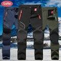 LUTU cálido otoño invierno Softshell pantalones de senderismo hombres impermeable al aire libre Pantalones de deporte, Camping senderismo ciclismo esquí pantalones de lana Pantalones