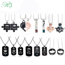 RJ Hot Lover Her King His Queen Crown Letter Necklaces Couple Pendants For Women Men Valentines Day Gift Jewelry Dropshipping