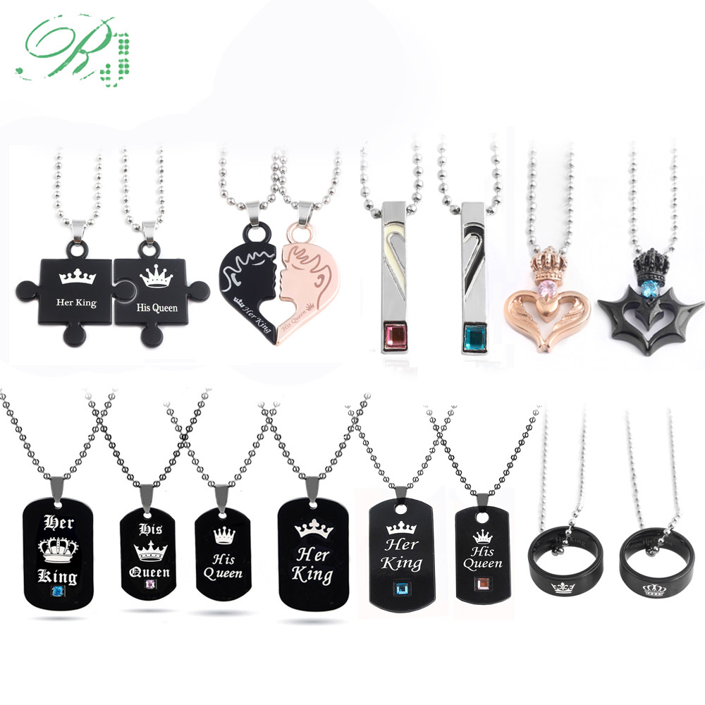 RJ Hot Lover Her King His Queen Crown Letter Necklaces Couple Pendants For Women Men Valentine's Day Gift Jewelry Dropshipping