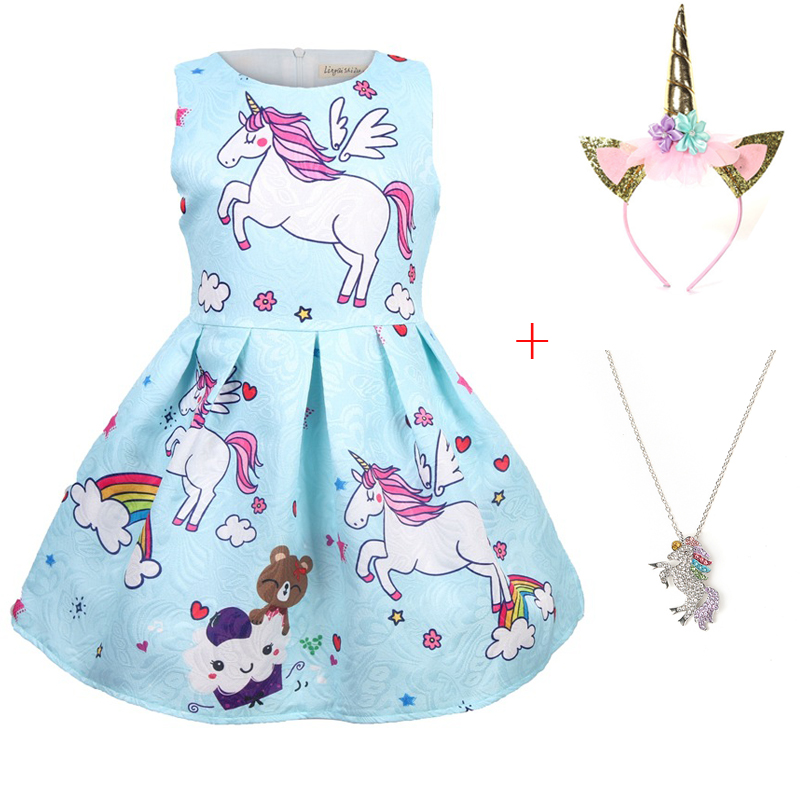 dadbb521ad Baby girls Summer Princess unicorn costumes party Dresses Children ...