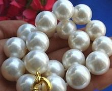 YOUCAIHUA women long 20mm white South Sea Golden Shell pearl necklace Handmade chain Silver Jewelry