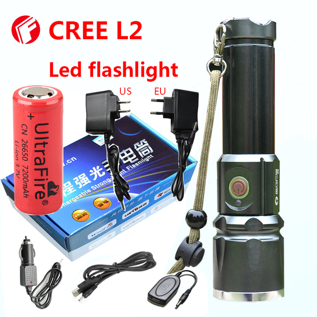 Flashlight Cree xm-l2 Tactical light 18650 or 26650 battery Outdoor Powerful LED Flashlight rechargeable