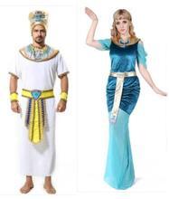 Adult Men Glod Egyptian Pharaoh Costume Halloween Costumes For Man Egypt Women Clothing Queen Cosplay