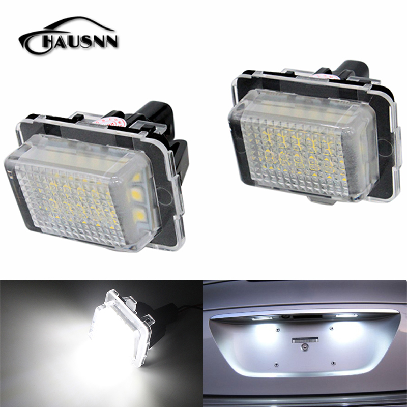 2Pcs/Set Canbus LED License Plate Lamp 18SMD White Error Free for Benz W204 W205 W216 W218 W212 W221 W231 W222 Free Shipping cawanerl car canbus led package kit 2835 smd white interior dome map cargo license plate light for audi tt tts 8j 2007 2012