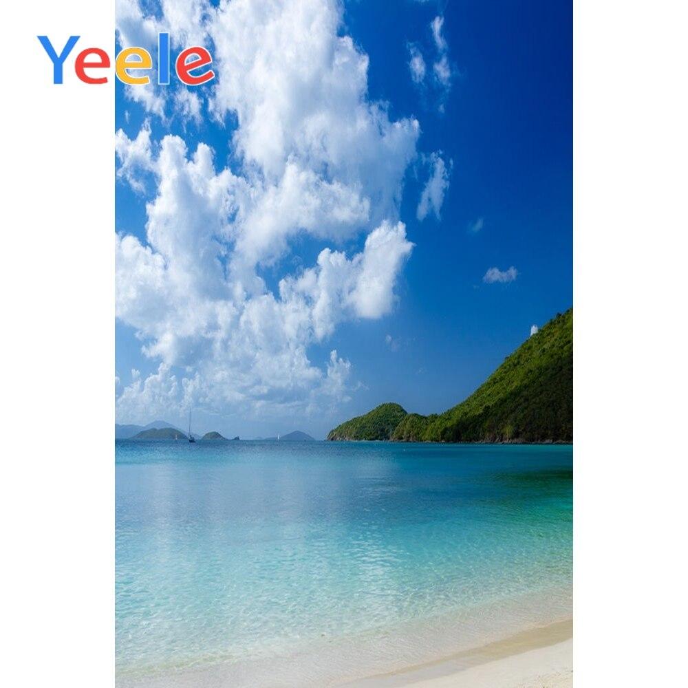 Yeele  Seaside Beach Summer Cloudy Sky Landscape Photography Backgrounds Vinyl Camera Photographic Backdrops For Photo Studio