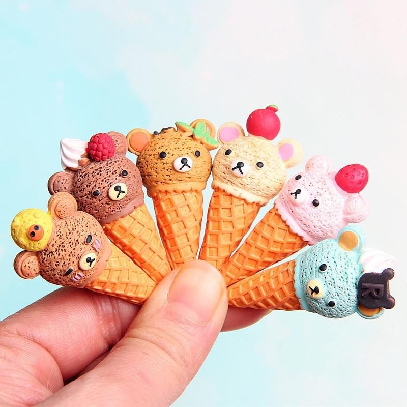 5Pcs Kawaii Food Resin Cabochon Cartoon Miniature Bear Ice Cream Resin Cabochons Scrapbooking Accessories DIY Decorative Craft