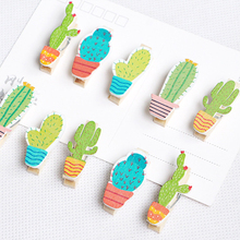 10pcs/lot Kawaii Cactus Wooden Photo Clip With Rope Paper Postcard Memo Clips Craft Decoration Clip For Party 10pcs lot creative original eco home decoration wooden clip photo paper craft clips party decoration clips