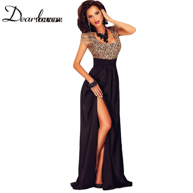ce87fd08b6f Dear lover Summer Spring 2017 Women Special Occasion Dresses Short Sleeve  Gold Lace Slit Long Maxi Evening Party Gown LC60809