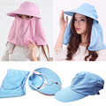 2016 New Arrival Outdoor Wide Brim Summer Detachable Sun Hat  For Women Face Neck Cover Flap Visor UV Caps Free Shipping 5Colors