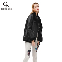 2017 New Winter Fashion High Quality Artificial Fur  Zipper Coat Pockets Warm Couples Sashes  Leather Jackets Woman