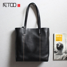 AETOO The first layer of leather fashion handmade vertical handbag leather shopping bag retro simple shoulder bag