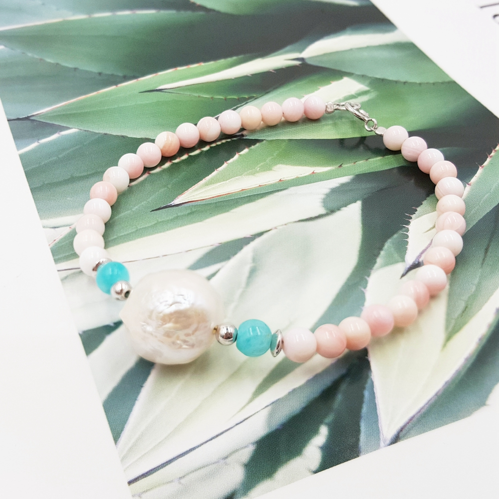 Lii Ji Baroque Freshwater Pearl,Amazonite,Pink Conch Shell 925 Sterling Silver BraceletLii Ji Baroque Freshwater Pearl,Amazonite,Pink Conch Shell 925 Sterling Silver Bracelet