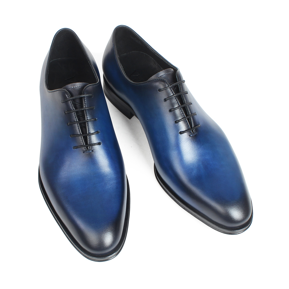 VIKEDUO Plain Blue Handmade Leather Shoes Men Wedding Office Formal Cow Skin Oxford Shoes Male Flat Footwear Men 39 s Dress Shoes in Oxfords from Shoes