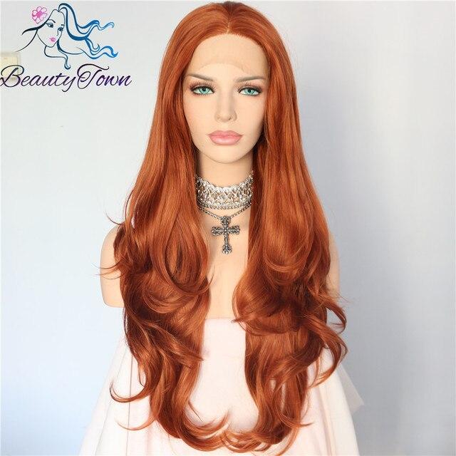 BeautyTown Cor Laranja Vermelho Resistente Ao Calor Sem Cola Densidade 150% Hand peruca do Laço Amarrado Parte Máscaras Diárias Perucas Sintéticas Do Laço Frontal