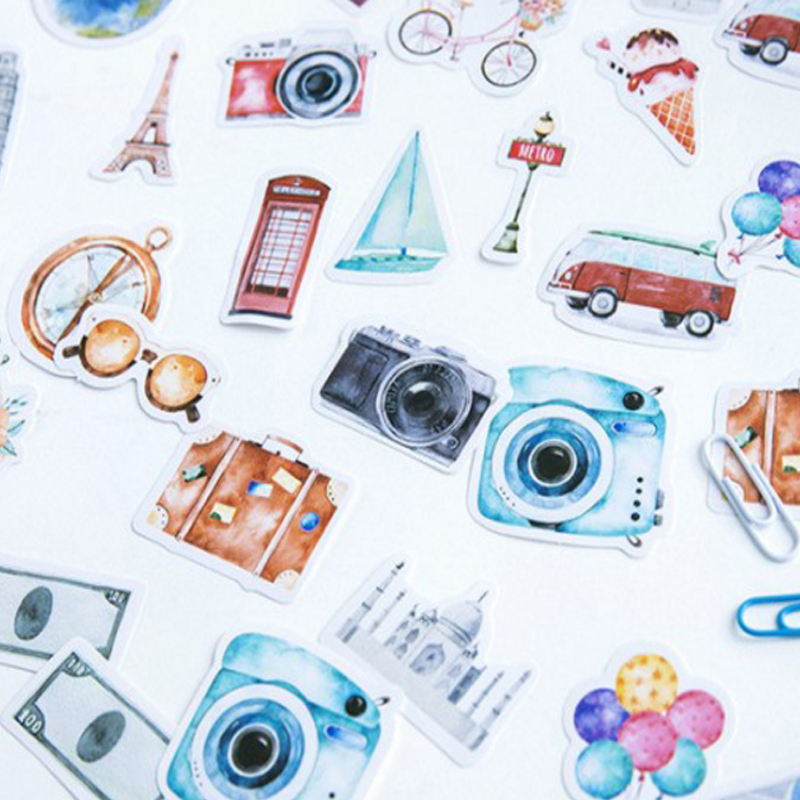46pcs/pack Vintage Travel Paper Sticker Deco Scrapbook DIY Label Bookmark For Diary Album Statioery School And Office Supply