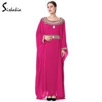 As mulheres muçulmanas Siskakia Bordado Beading vestidos de vestes Dubai marroquino Kaftan Islâmico turco Abaya árabe jalabiya vestuário Outono