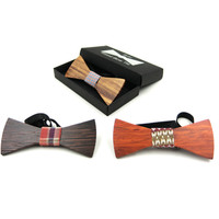 100% Bowtie para Mulheres Dos Homens Do Vintage de Madeira Caixa de Presente 2017 Designer de Luxo Handmade Bow Tie Meninos Meninas Borboleta De Madeira Novidade Bowtie