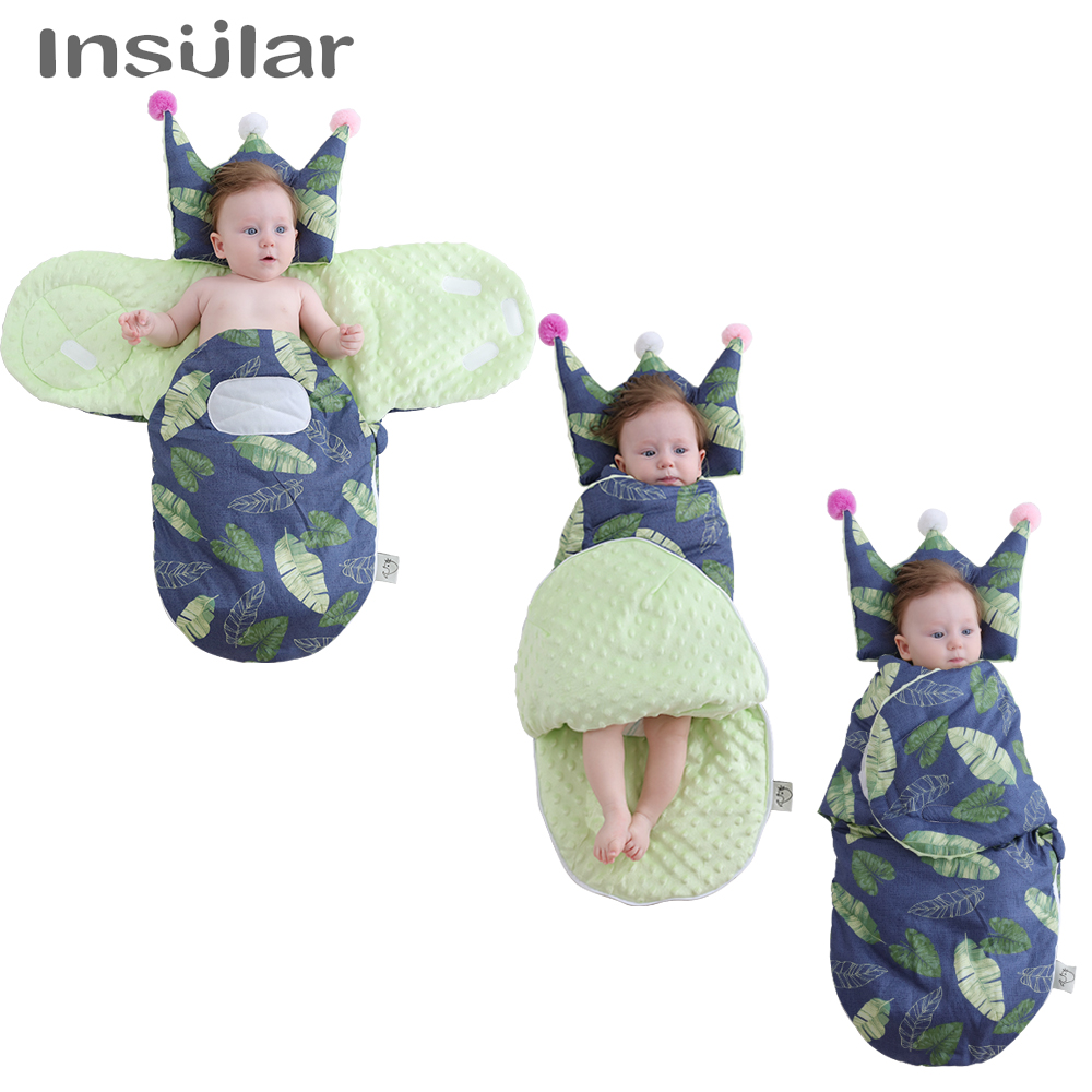100% Cotton Baby Sleeping Bag Printed Baby Sleep Sack Warm Baby Stroller Sleeping Bag Unique Baby Swaddle Blanket With Pillow