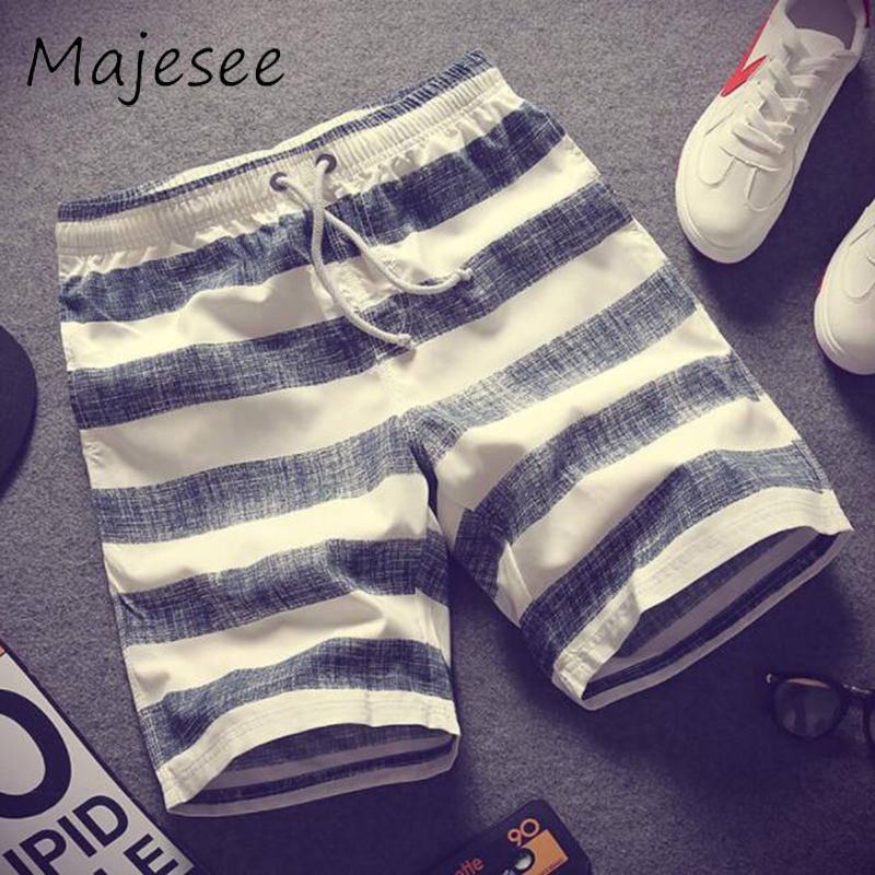 Summer Men Casual Shorts Mens Striped Short Loose New Breathable Drawstring Elastic Waist Thin Male Fashion Korean Style Trendy