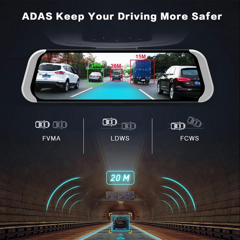 Bluavido 10 Inch 4G Android Rearview Mirror DVR 1080P Dash Camera GPS Navigation ADAS Night vision Dual Lens Car video recorder in DVR Dash Camera from Automobiles Motorcycles