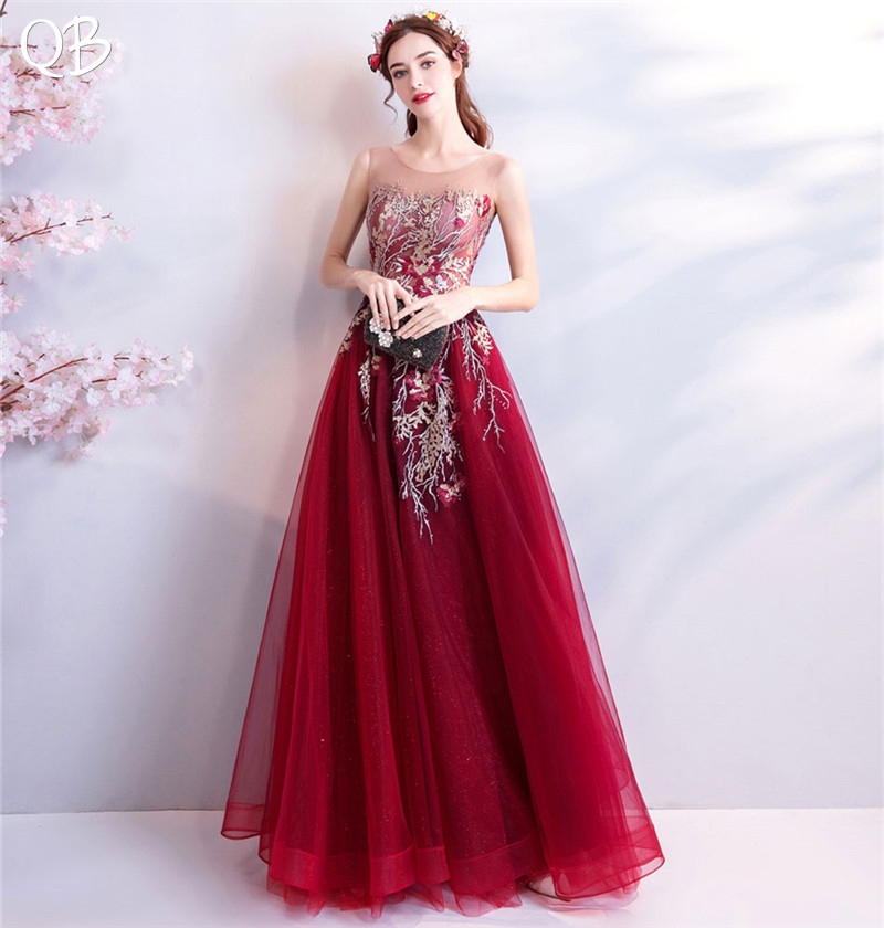 2019 New Fashion Wine Red A-line Lace Tulle Flowers Appliques Evening Dresses Elelgant Long Formal Evening Gowns XK07