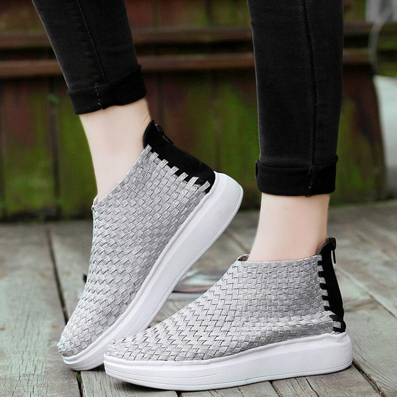 Newest Women Spring Casual Feminino Fashion Weave Knitting Slip On Back Zipper Loafers Moccasins Plimsolls ZapatIllas Shoes T673
