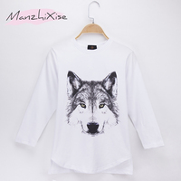2018 New Listing Kids Clothes Children T Shirt Animal Wolf 3D Print 100 Cotton Child Boys